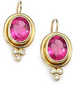 Classic Color Pink Tourmaline #Diamond & 18K Yellow Gold Oval Drop Earrings