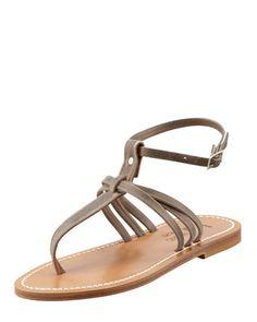X1JD0 K. Jacques Papyrus Ankle-Strap Thong Sandal
