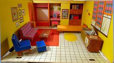 Vintage Barbie Dream House 1962 w Furniture Mattel Folds up to carry and store