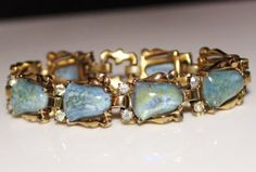 Vintage-MAZER-Bros-Opal-Iridescent-Blue-Art-Glass-Rhinestone-Bracelet