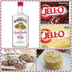 Sugar Cookie Pudding Shots 1 small Pkg. vanilla or chocolate instant pudding ¾ Cup Milk 3/4 Cup Burnette's Sugar Cookie vodka 8oz tub Cool Whip  Directions 1. Whisk together the milk, liquor, and instant pudding mix in a bowl until combined. 2. Add cool whip a little at a time with whisk. 3.Spoon the pudding mixture into shot glasses, disposable shot cups or 1 or 2 ounce cups with lids. Place in freezer for at least 2 hours