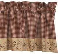 Checker Berry Primitive Country Curtain Valance from IHF