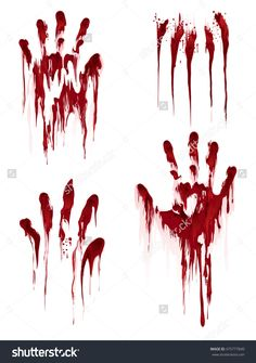 Bloody Hand Print Isolated On White Background. Horror Scary Blood Dirty Handprint And Fingerprint Vector Illustration - 475777840 : Shutterstock