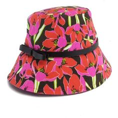 Pre-owned Kate Spade Pink Rio Tropical Floral Bucket Hat ($65) ❤ liked on Polyvore featuring accessories, hats, pink, fishing hat, floral fisherman hat, leather bucket hat, kate spade and pink bucket hat