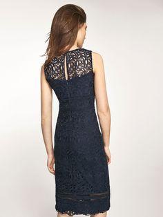2283f742a7 Massimo Dutti navy guipure lace dress