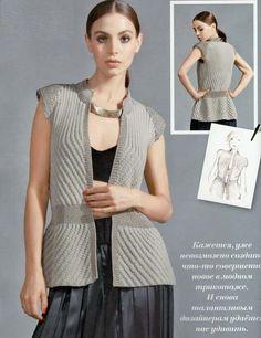 Стильный жилет спицами для вечернего наряда. Полное описание вязания и схемы узоров.