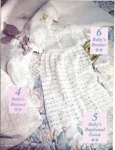 Crochet Pattern Adorable Baby Infant Christening Gown Bonnet Booties Sz 0 6mth | eBay