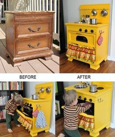 : A Display Shelf Erica at Spoonful of Imagination found this old dresser in the junk tossed away by her neighbor's and after giving it a pretty makeover she turned the dresser into a display shelf. A Play Kitchen Cyrille at Bubblestitch Quilts upcycled a Projects For Kids, Diy For Kids, Diy Projects, Old Dressers, Small Dresser, Diy Play Kitchen, Play Kitchens, Kid Kitchen, Kitchen Oven