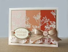 handmade card ... paint chip style ... delicate silhouette follieage stamped in white ... browns ... lovely ...