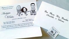 Criação e impressão de convite de casamento com caricatura e caligrafia por Foco Design & Gráfica.