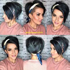 Bandana hairstyles for short hair Edgy Hair BANDANA Hair Hairstyles Short Short Hair Undercut, Long Pixie Hairstyles, Undercut Hairstyles, Short Hair Cuts, Bob Hairstyle, Messy Pixie Haircut, Edgy Short Haircuts, Short Hair Hacks, Wedding Hairstyles
