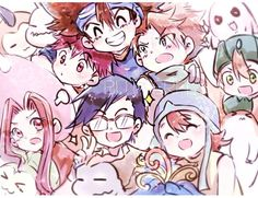 Digimon Adventure: Tsunomon, Koromon, Koushiro (Izzy), Taichi (Tai), Yamato (Matt), Motimon, Takeru (T.K.) with Patamon, Mimi with Tanemon, Joe with Bukamon and Sora with Yokomon