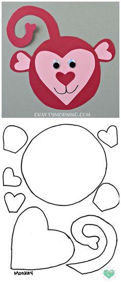 st valentin Free Printable Templates of Heart Shape Animals - Crafty Morning Valentine's Day Crafts For Kids, Animal Crafts For Kids, Valentine Crafts For Kids, Valentine Day Crafts, Toddler Crafts, Holiday Crafts, Classroom Crafts, Preschool Crafts, Monkey Crafts