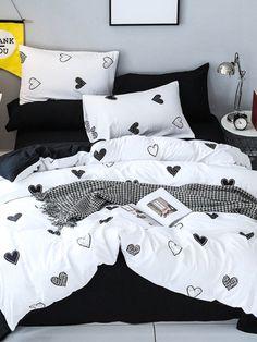 Allover Heart Print Sheet SetFor Women-romwe