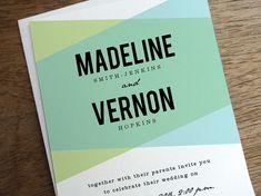 Un frappant géométrique mariage invitation modèle imprimable avec typographie BOLD et une palette de couleurs pour surprendre et ravir vos invités.