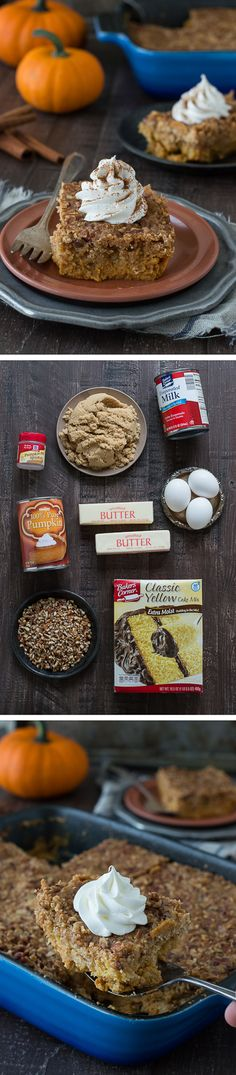 This pumpkin dump cake is the best fall dessert! Just mix, dump, and bake - it's ready in under 1 hour! This will be a family favorite!: