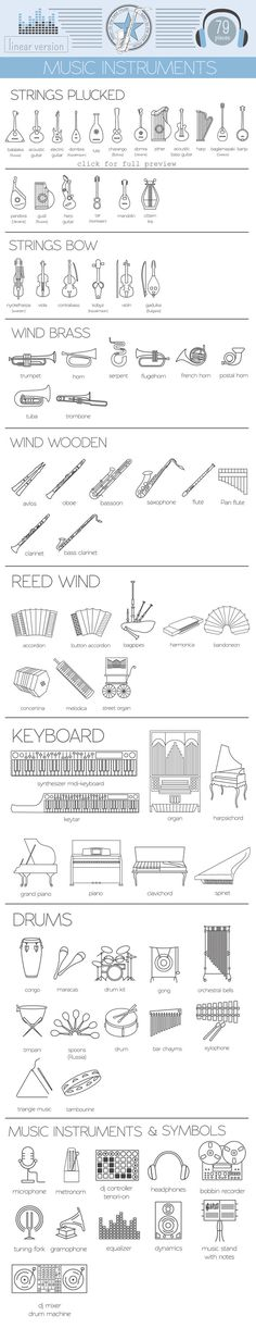 #Music #instruments linear set by design shop on creativemarket