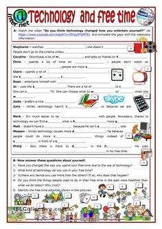 Students have to watch the video at https://www.youtube.com/watch?v=F0Ypz9TDMTE and complete exercise A with the necessary information. Some words already have the first letter. Then they answer some questions about themselves. Finally they will have to identify the free time activities shown in the different pictures. Hope you like it. - ESL worksheets