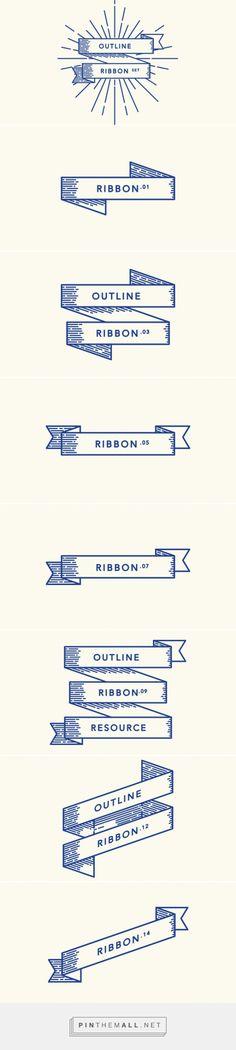 Retro Outline Ribbon Vector Set | Decorative Vectors | Pixeden - created via http://pinthemall.net