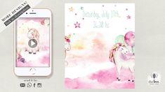 Unicorn Birthday Animated Card Animated Unicorn, Etsy Cards, Unicorn Invitations, Unicorn Birthday, Invitation Cards, Bee, Animation, Make It Yourself, Youtube