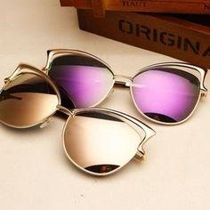 4e16c69bc7 Retro vintage cat eye sunglasses Reflective female
