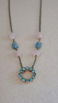 Vintage aqua blue pendant necklace with semi-precious stones.