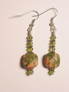 Unakite and Swarovski Crystal Dangle Earrings by frisado. Explore more products on http://frisado.etsy.com