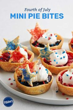 We're seeing stars—literally! These patriotic pie bites are the perfect sweet treat to fill out your Fourth of July grazing table. Easily customize this recipe for other holidays by swapping the cutouts, fillings and sprinkles. Mini Desserts, Dessert Recipes, Cake Recipes, Healthy Holiday Recipes, Holiday Meals, Fourth Of July Food, July 4th, Yummy Treats, Sweet Treats