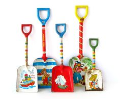 Tin shovels for digging down to China at the beach.