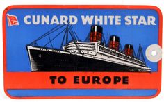 Cunard White Star Aquitania Luggage Tag 1949 Southampton to Halifax First Class Trans-Atlantic Ocean Liner Cruise Ship Colorful Graphic by QueeniesCollectibles on Etsy