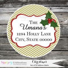 Set of 12 Personalized Printed Address Labels -Christmas -Return Address Labels -Sticker -Mailing Label -Holiday -Holly -Christmas Card    ♥