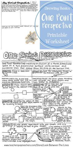 This printable worksheet walks art students through the steps to create a one point perspective. On the back of the worksheet is space to practice one point perspective on the back. #onepointperspective #art #education #drawing