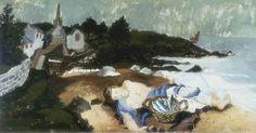 """""""Sleeping Fisherman, Ploaré, Brittany"""" by Christoper Wood, 1930 (oil on board)"""