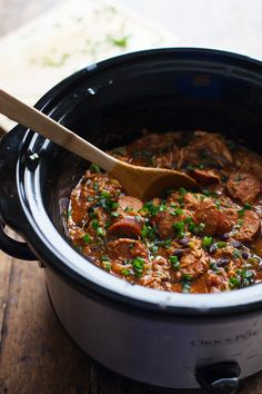slow cooker chicken + sausage