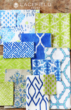 Lacefield Aruba Textile Collection - Blue and Lime Green (Mix Patterns Kitchen) Home Textile, Textile Design, Fabric Design, Chinoiserie, Fabric Combinations, Pattern Mixing, Mixing Patterns Decor, Home Decor Fabric, Green Fabric