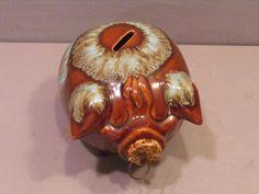 Hull Corky Pig Ceramic Bank - Adorable Brown,Blue Drip,Pristine w/ Original Cork