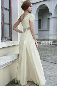 Gorgeous A-Line One-Shoulder Beadings Evening/Homecoming Dresses