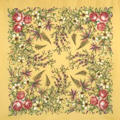 Платки 89х89 : Весеннее путешествие 1604-2, павлопосадский платок шерстяной с шелковой бахромой