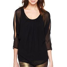 f4ff0b1ddb979 Bisou Bisou® High-Low Cold Shoulder Tee - jcpenney