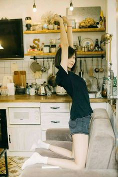 the most beautifl thing is a not naked girl, isn't it?Not the norm to have a sofa in the kitchentrick or milk Pose Reference Photo, Female Reference, Figure Reference, Drawing Reference, Mode Ulzzang, Ulzzang Girl, Beautiful Japanese Girl, Beautiful Asian Girls, Beautiful Legs