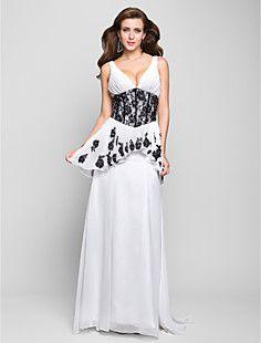 a-line v-hals sweep / børste tog chiffon aften kjole med pep... – DKK kr. 1.212