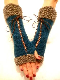 Fingerless Gloves Corset Arm Warmers in Brown / Taupe by LaimaShop, $38.00