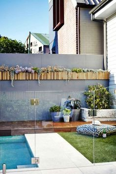 deco exterior wall exterior wall cladding with light wooden plants . Exterior Wall Cladding, Vertical Garden Wall, Patio, Backyard, Plant Wall, Cool Pools, Diy Wall, Garden Furniture, Outdoor Gardens