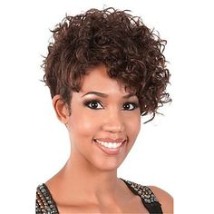 Short Curly Brown Wig For Women Haircut Synthetic Highlight Natural Wig 5002802 2016 – $19.90