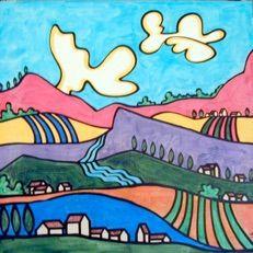 Rural Landscapes Art Inspiration Drawing, Drawing Ideas, Post Impressionism Art, Tuscany Landscape, Whimsical Art, Naive, Zentangle, Folk Art, Primitive