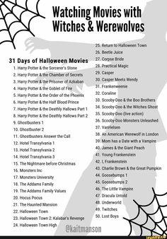 Family Friendly Halloween Movies, Halloween Movies List, Halloween Movie Night, Scary Movies, Classic Halloween Movies, Halloween Town, 31 Days Of Halloween, Halloween Costumes, Halloween Bags