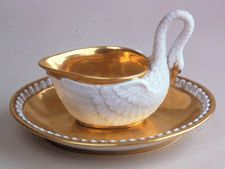 "Darte-frères made elegant swan shaped cups with saucers for the Empress. Darte-frères famous for ""Old Paris"" porcelain from 1801 to 1833."