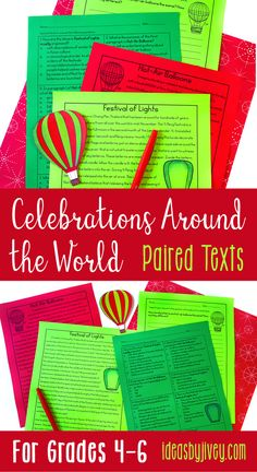 Paired texts and passages are great for providing students with more complex texts to compare and build knowledge. These holiday themed, differentiated passages are perfect for 4th grade, fifth grade, and middle school classrooms! Click the pin to see some of the texts about celebrations around the world that are included!