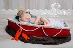 Handmade Crochet Newborn Fishing outfit