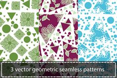 New work! #abstract #geometric #seamless #patterns  Check out 3 vector seamless patterns by LuizaVictorya on Creative Market